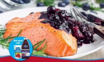 Salmon with cranberry superberry vinaigrette