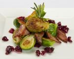 CARAMELIZED BRUSSEL SPROUTS WITH BACON AND CRANBERRIES